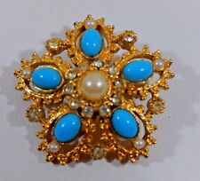 VTG VICTORIAN REVIVAL GP RHINESTONE FAUX PEARL TURQUOISE CABOCHON BROOCH  EVC.
