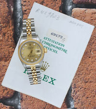 ORIGINAL Champagne Diamond Dial Ladies Rolex Oyster Perpetual Datejust, PAPERS!