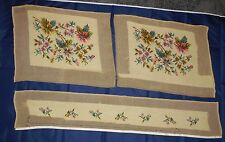 """Vintage Unfinished Needlepoint Projects 2 Chair or Pillow Covers & 31"""" Runner"""