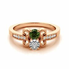 1.097  Carat Green&White VS2-SI1 2 Diamond Solitaire Engagement Ring 14k RG