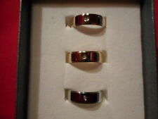 Diamond Set of 3 Band Rings in YG, RG Overlay & Stainless-Size 7-0.05 CTW