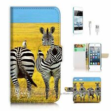 iPod Touch 6 iTouch 6 Flip Wallet Case Cover! P1192 Zebra