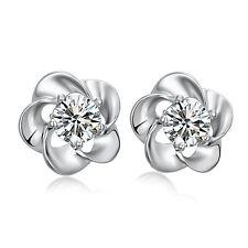 925 Sterling Silver Flower Crystal Stud Earrings Womens Ladies Jewellery Gift UK