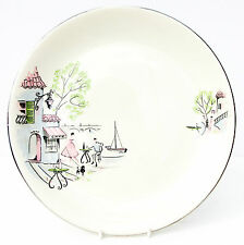 Vintage Retro 1950s Alfred Meakin Down by the Seine Dinner Plate Paris Cafe