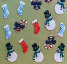 Nail Art 3D Sticker Glitter Christmas Holidays Decal Snowman Candy Cane Stocking