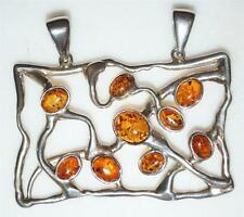 925 STERLING SILVER LARGE RECTANGLE GENUINE AMBER TWO BAIL SLIDE PENDANT PT7