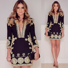 NEW Summer Sexy Women Long Sleeve Party Evening Cocktail Dress Casual Mini Dress