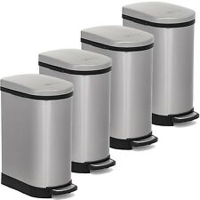 Heim 4 Pieces Step Open Slow Down Close Trash Can Bin 2.6 Gallon Stainless Steel