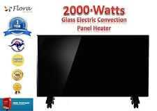 New Flora 2000w Portable Glass Electric Convection Panel Heater Fireplace Wall