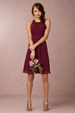 Anthropologie BHLDN Hitherto Georgina Dress Black Cherry Red 10 sheer bridesmaid