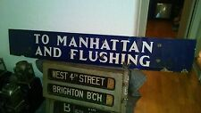 NYC SUBWAY ANTIQUE BLUE PORCELAIN SIGN MANHATTAN FLUSHING VINTAGE NY COLLECTIBLE