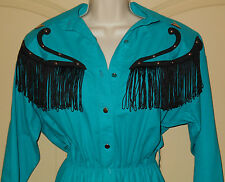Western VINTAGE Dress 9-10 M Lilia Smitty Womens Rodeo Studs Turquoise USA 5R13