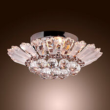 Modern Crystal Flush Mount Semi Chandelier Lighting Pendant Ceiling Light 2016