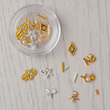 1 Box Gold Silver Star Starfish Palm 3D Nail Art Decoration UV Gel Studs Tips