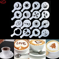 16Pcs/set Coffee Milk Cake Cupcake Stencil Template Mold Coffee Barista Tools