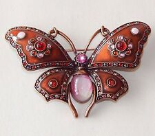 JOAN RIVERS Burgundy ENAMEL CRYSTAL JELLY BELLY COPPER TONE BUTTERFLY BROOCH PIN