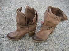 BCBG Generation Brown Leather Distressed Low Ankle Booties size 6.5 with heel