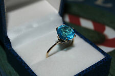 18ct solid gold huge 5.5ct natural Swiss Topaz & Sapphires
