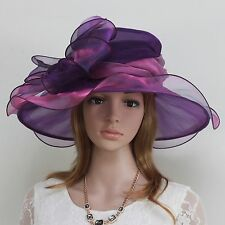 New Church Kentucky Derby Wedding Cocktai  Party Organza  Dress Hat 2967 Purple