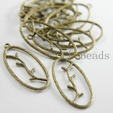 10pcs Antique Brass Tone Base Metal Charms-Branch in Oval 43x19mm (13069Y-G-25B)