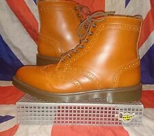 Affleck*Tan Conker Brown Wingtip Brogue Dr Doc Martens*Skinhead Steampunk Goth