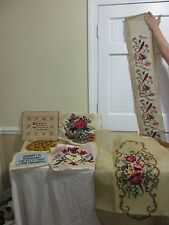"""1970's 63"""" Finished Tapestry Cross Stitch Needle Point floral birds Lot EXTRAS"""