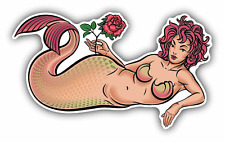 "Mermaid Old School Tattoo Car Bumper Sticker Decal 6"" x 3"""