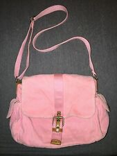 Fossil Pink Canvas Shoulder Bag ~ Cute stripe interior lining ~ Great Condition