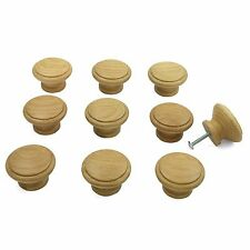 10 x Oak Wooden Kitchen Cupboard / Cabinet Door Drawer Knobs 42mm diameter