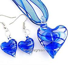 Blue Heart Lampwork Glass Murano Bead Pendant Ribbon Necklace Cord Earrings Set