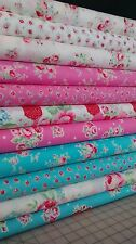 11 Fat Quarters LECIEN's FLOWER SUGAR SPRING 2015 in Pink, Aqua & White~2.75 yds