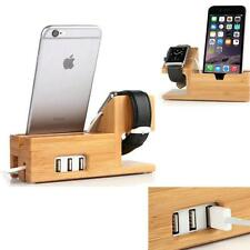 Superior Bamboo Charger Charging Dock Station Holder Stand For iWatch iPhone New