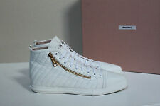 8.5 / 3.5 Miu Miu Pointed Toe White Leather Lace up High Top Sneaker Flat Shoes