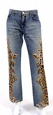 ROBERTO CAVALLI  Leopard  Eyelet Embroidered  Jeans /pants