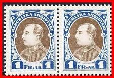 ALBANIA 1925 PRESIDENT ZOGU 1 FR UNISSUED SC# 193a MNH pair CV$30.00 E15