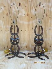 Western Rustic Horseshoe 2 Lamps W/Star Home Decor Lodge Horse Cowgirl