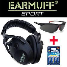 Schützen Sport-/Jagt Gehörschutz  24dB EARMUFF SWZ + Batteien + Schutzbrille