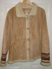 Coldwater Creek Vegan Jacket L Faux-Suede Ultrasuede Sherpa Fleece Ribbon Trim