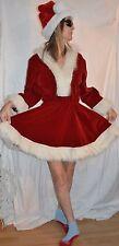 QUALITY V neck  Mrs Claus DRESS Costume Santa's Helper Elf size 4 - 6 RED VELVET