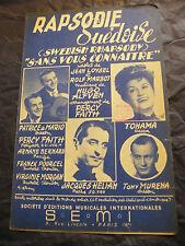 Partition Rapsodie Suédoise Jacques Hélian Tony Muréna 1953 Music Sheet