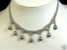 Charming !7-9MM Black Akoya pearl pendant necklace AAA