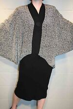 XL-XXL Avant Garde Black White Animal Print Vtg 80s Batwing Pencil Skirt Dress