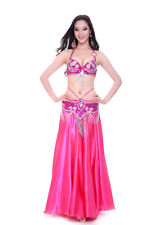New Belly Dance Costume 2 Pics Bra&Belt 34B/C 36B/C 38B/C 40B/C 13 Colors