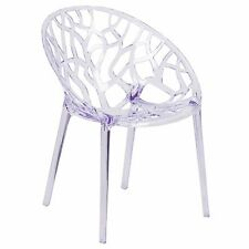 (Set of 2) Modern Ghost Dining Patio Round Bowl Side Chairs Transparent Clear
