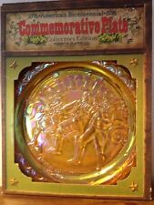 "Indiana Glass Co Bicentennial Collectors Ed Gold Carnival Glass 8"" Plate in Box"