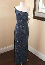 New Scala Blue Silk Beaded Sequin One Shoulder Evening Gown Dress Formal L NWT
