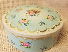 Vintage England Round Roses Candy Tin Trinket Valentines Day Blue Pink Gold