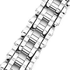 18mm Rocker Silver Motorcycle Bike Chain Stainless Steel Bracelet 9 inches