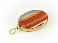 Continental Agate & Gilt Silver Miniature Oval Mirror w/ Hanging Loop 19th Cent