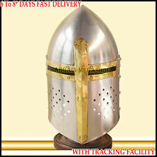 ADULT SIZE Medieval Crusader Great Helmet Knight Armor Helm Larp Reenactment Sca